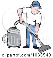 Clipart Man Using A Canister Vacuum Royalty Free Vector Illustration