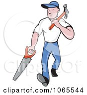 Clipart Carpenter Carrying A Saw And Hammer Royalty Free Vector Illustration