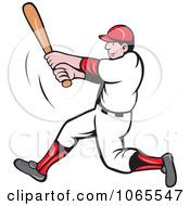 Clipart Batting Baseball Player 4 Royalty Free Vector Illustration