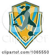 Clipart Female Soccer Player Shield Royalty Free Vector Illustration