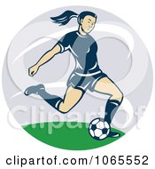 Clipart Female Soccer Player Kicking Royalty Free Vector Illustration
