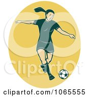 Clipart Female Soccer Player On Yellow Royalty Free Vector Illustration