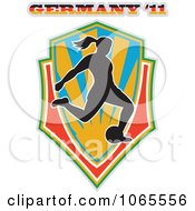 Clipart Female German Soccer Player Shield Royalty Free Vector Illustration by patrimonio