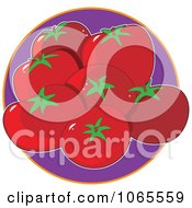 Clipart Tomatoes On Purple Logo Royalty Free Vector Illustration by Maria Bell