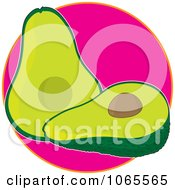 Clipart Avocado On Pinke Logo Royalty Free Vector Illustration by Maria Bell