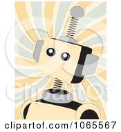 Clipart Springy Beige Robot Over Swirls Royalty Free Vector Illustration