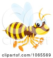 Clipart Wasp Flying Royalty Free Illustration
