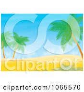Clipart Desert Dune And Palm Tree Landscape Royalty Free Illustration by Alex Bannykh