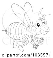 Clipart Outlined Wasp Flying Royalty Free Illustration