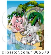 Clipart Elephant Couple On A Beach Royalty Free Illustration by dero