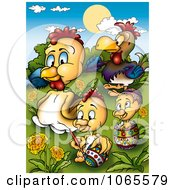 Clipart Easter Chicken Family Royalty Free Illustration by dero