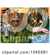 Clipart Gazelle Zebras And Flamingos At A Watering Hole Royalty Free Illustration by dero