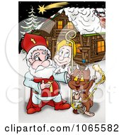 Clipart Santa With A Devil And Angel By A Cabin Royalty Free Illustration