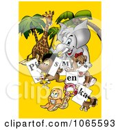 Clipart Animals Holding Letter Signs Royalty Free Illustration by dero