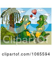 Clipart Crocodile Couple On A Beach Royalty Free Illustration by dero