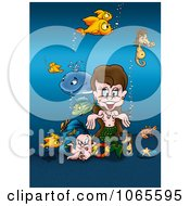 Clipart Mermaid With Sea Creatures Royalty Free Illustration