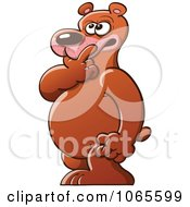 Clipart Bear With A Doubtful Expression Royalty Free Vector Illustration