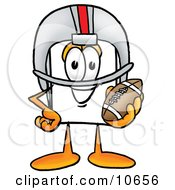 Clipart Picture Of A Paper Mascot Cartoon Character In A Helmet Holding A Football by Toons4Biz