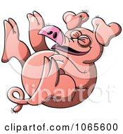 Clipart Pig Rolling Around And Laughing Royalty Free Vector Illustration