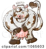 Clipart Surprised Dairy Cow Holding Its Udders Royalty Free Vector Illustration by Zooco