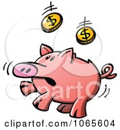 Clipart Piggy Bank Jumping To Catch Coins Royalty Free Vector Illustration