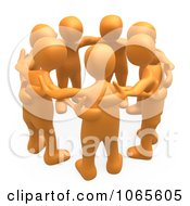 Clipart 3d Orange People In A Huddle Royalty Free CGI Illustration