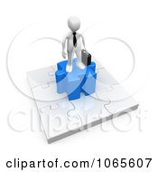 Clipart 3d White Businessman On A Jigsaw Puzzle Royalty Free CGI Illustration