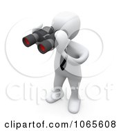 Clipart 3d White Person Using Binoculars Royalty Free CGI Illustration