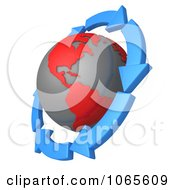 Clipart 3d Arrows Around A Globe Royalty Free CGI Illustration