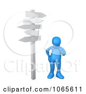 3d Blue Person Standing At A Crossroads