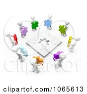 Poster, Art Print Of 3d White People Holding Colorful Puzzle Pieces