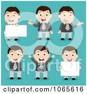 Clipart Businessman In Different Poses Royalty Free Vector Illustration by vectorace
