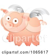Clipart Winged Pig In Flight 1 Royalty Free Vector Illustration by Qiun