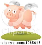 Clipart Winged Pig In Flight 3 Royalty Free Vector Illustration by Qiun