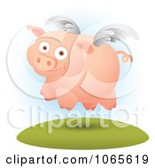 Clipart Winged Pig In Flight 2 Royalty Free Vector Illustration by Qiun