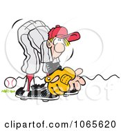 Clipart Baseball Player Missing A Rolling Ball Royalty Free Vector Illustration
