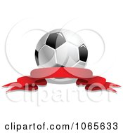 Clipart Soccer Ball And Ribbon 4 Royalty Free Vector Illustration