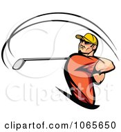 Clipart Swinging Golfer Royalty Free Vector Illustration by Vector Tradition SM
