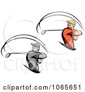 Clipart Swinging Golfers Royalty Free Vector Illustration