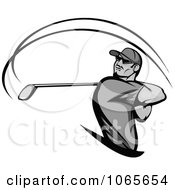 Clipart Grayscale Swinging Golfer Royalty Free Vector Illustration
