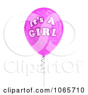 Clipart Pink 3d Its A Girl Balloon 1 Royalty Free CGI Illustration by stockillustrations