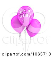 Clipart 3d Its A Girl Balloons 1 Royalty Free CGI Illustration
