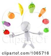 Clipart 3d White Bob Juggling Produce 2 Royalty Free CGI Illustration
