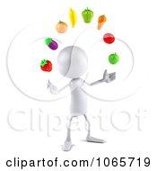 Clipart 3d White Bob Juggling Produce 3 Royalty Free CGI Illustration