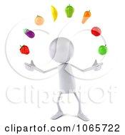 Clipart 3d White Bob Juggling Produce 1 Royalty Free CGI Illustration