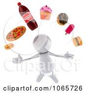 Clipart 3d White Bob Juggling Food 2 Royalty Free CGI Illustration