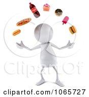Clipart 3d White Bob Juggling Food 1 Royalty Free CGI Illustration