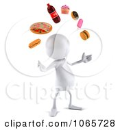 Clipart 3d White Bob Juggling Food 3 Royalty Free CGI Illustration