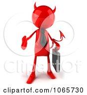 Poster, Art Print Of 3d Red Bob Devil Businessman 1