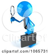 Clipart 3d Blue Bob Businessman Searching 2 Royalty Free CGI Illustration by Julos